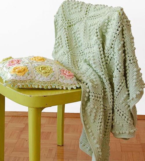 Vintage Popcorn Stitch Blanket | AllFreeCrochetAfghanPatterns.com