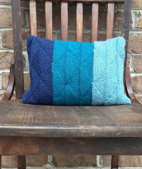 Ombre Seaglass Knit Cushion Cover