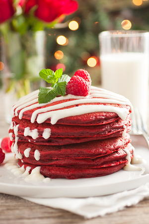 Red Velvet Pancakes with a Cream Cheese Glaze