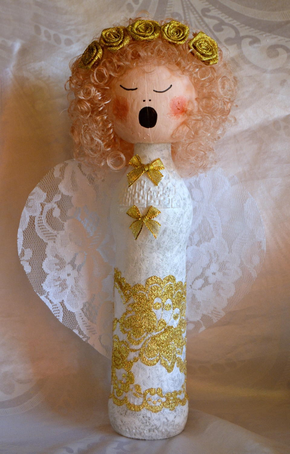 Wine Bottle Angel DIY Christmas