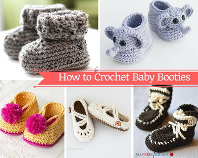 How To Crochet Baby Booties With 40 Patterns AllFreeCrochet Simple Crochet Baby Booties Pattern Step By Step