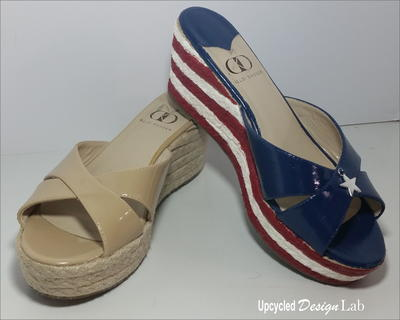 Upcycled Red White and Blue Patriotic Shoe Fun