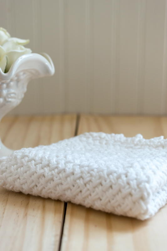 Diagonal Basket Weave Washcloth with Picot Edge | FaveCrafts.com