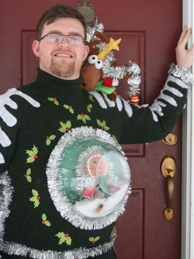 snow globe diy ugly sweater - Homemade Ugly Christmas Sweaters