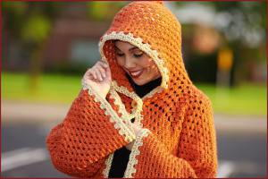 Orange Creamsicle Hooded Cardigan | AllFreeCrochet.com