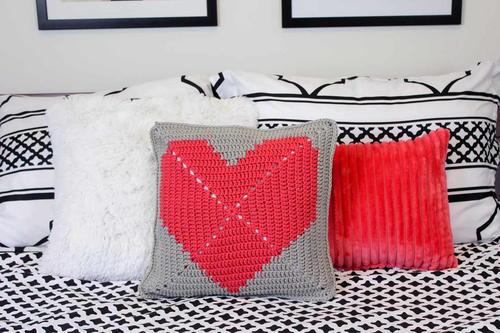 I Heart You Crochet Pillow Pattern Favecrafts