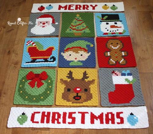 Have A Pixel Christmas Crochet Blanket Pattern