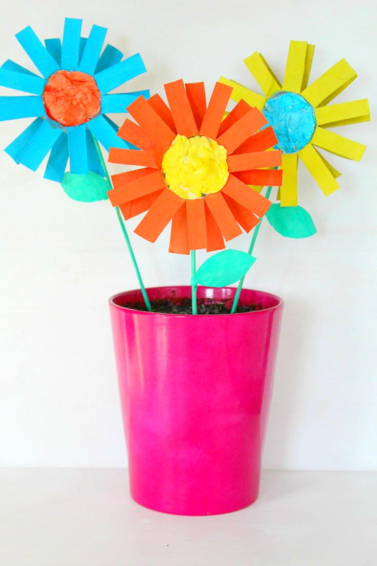 Easy Paper Flowers Kid Craft Diyideacenter