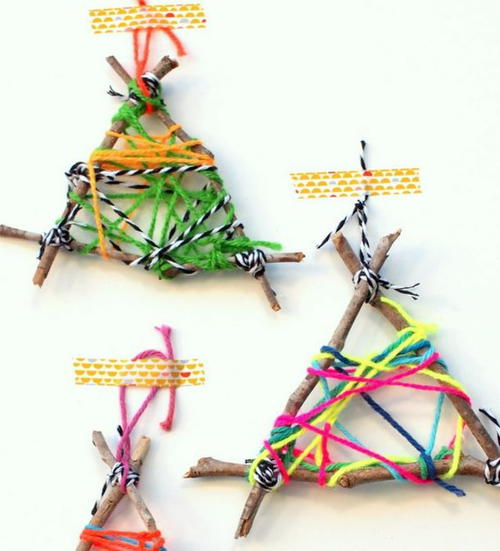 Twig String Art Christmas Ornament Crafts for Kids