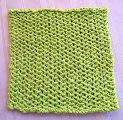 Lime Slip Stitch Dishcloth Allfreeknitting
