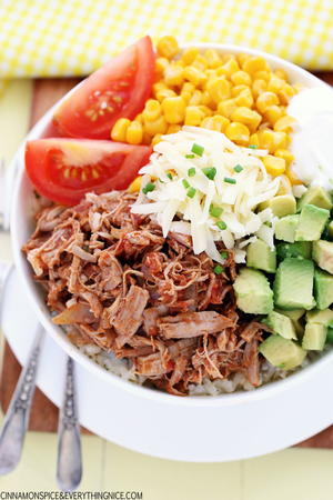 Slow Cooker Pork Burrito Bowls