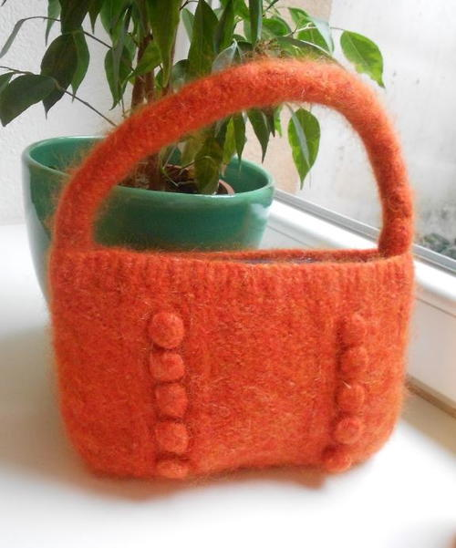 Bobble Felted Knitted Purse