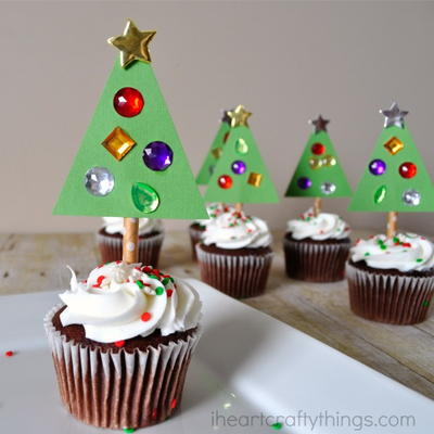 Colorful Christmas Tree Cupcake Toppers