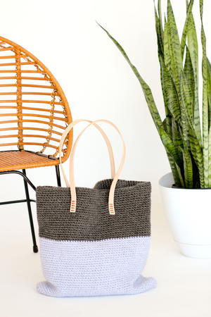 Leather and Crochet Tote