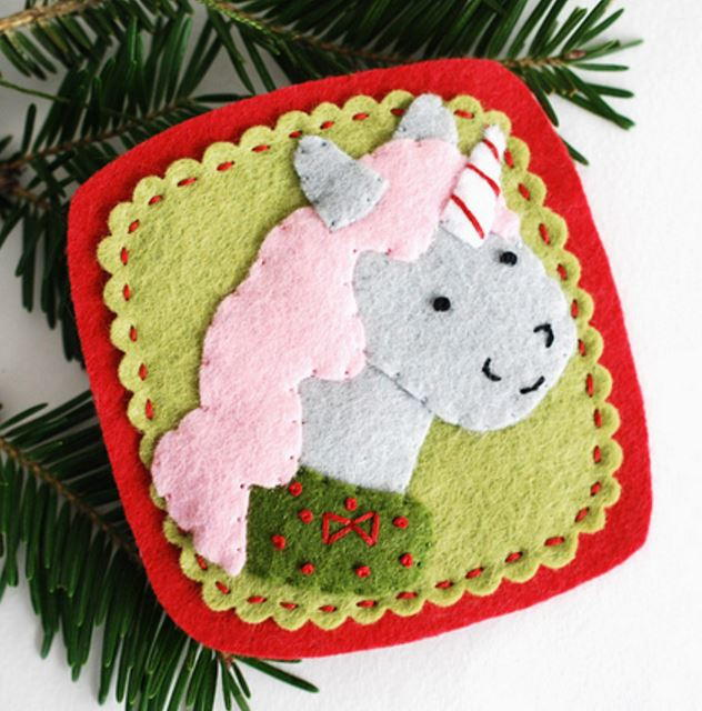 felt craft ideas for christmas unicorn felt ornament allfreechristmascrafts 6573