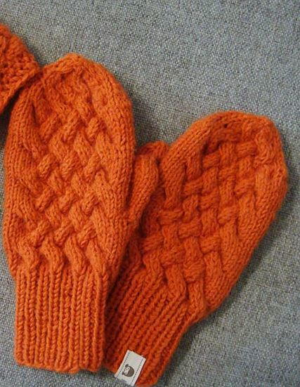 Orange Cabled Knit Mittens Pattern