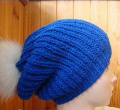 Cobalt Slouchy Hat Allfreeknitting