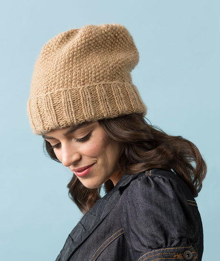 Camel Seed Stitch Slouchy Hat