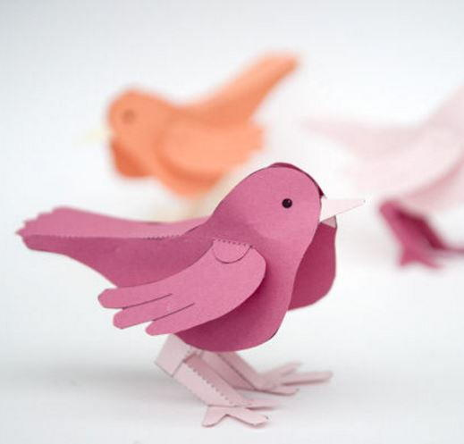 3d paper bird free printable