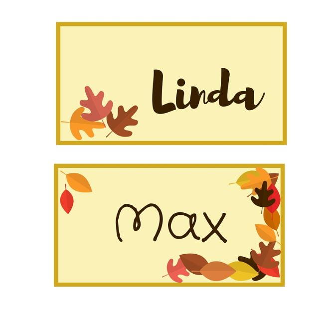Autumn leaf printable place cards allfreepapercrafts m4hsunfo