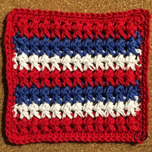 Red White And Blue Textured Dishcloth Allfreecrochet