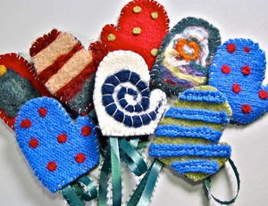 Felted Mitten Ornaments
