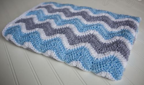 Foggy Morning Chevron Baby Blanket