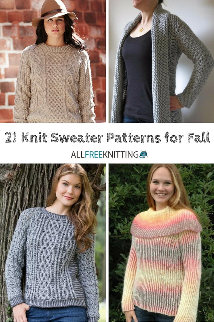 21 Knit Sweater Patterns for Fall | AllFreeKnitting.com
