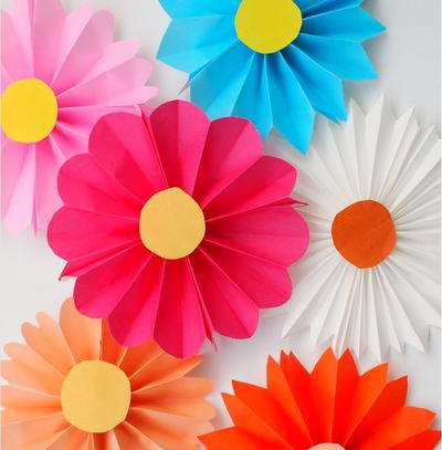 Accordion Fold Paper Flowers For Kids Allfreepapercrafts