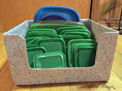 Easy, Recycled, DIY Food Container Lid Storage Solution