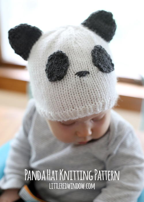 Sweet Panda Baby Hat Allfreeknitting