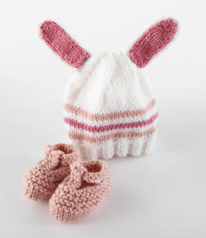 Baby Bunny Knit Hat and Booties