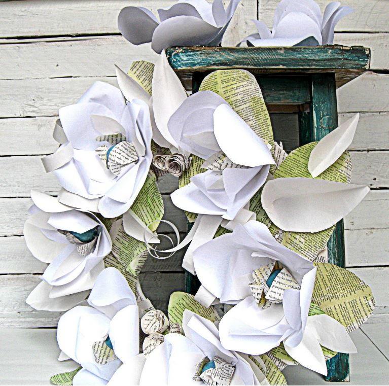 Mixed material paper flower diy wreath allfreepapercrafts mightylinksfo