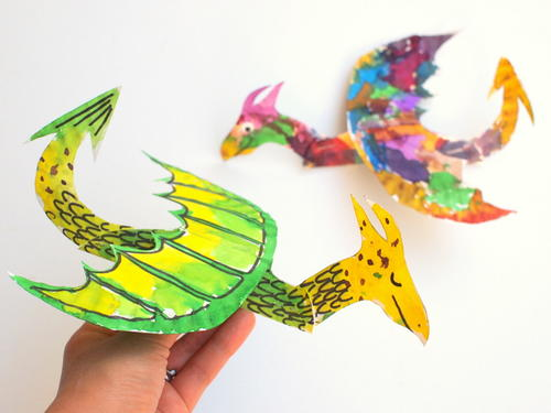 Painted Paper Plate Dragon Craft