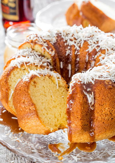 Southern Rum Cake with Caramel Sauce