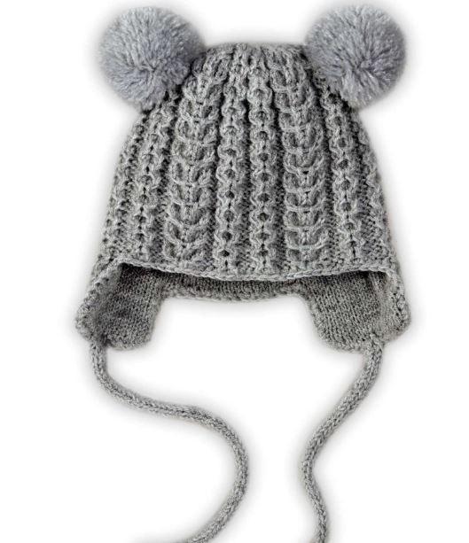 Earflap Pom Pom Kids Hat | AllFreeKnitting.com