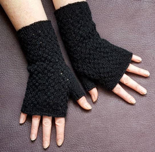 Black Lace Fingerless Gloves Knitting Pattern Allfreeknitting