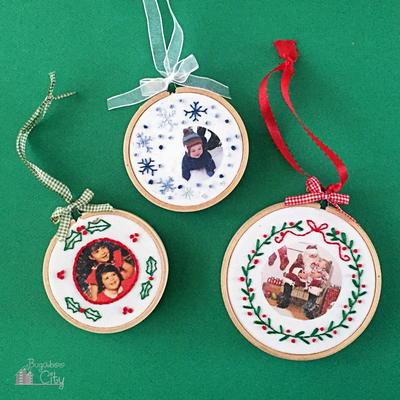 embroidered photo diy christmas ornaments - Embroidered Christmas Ornaments