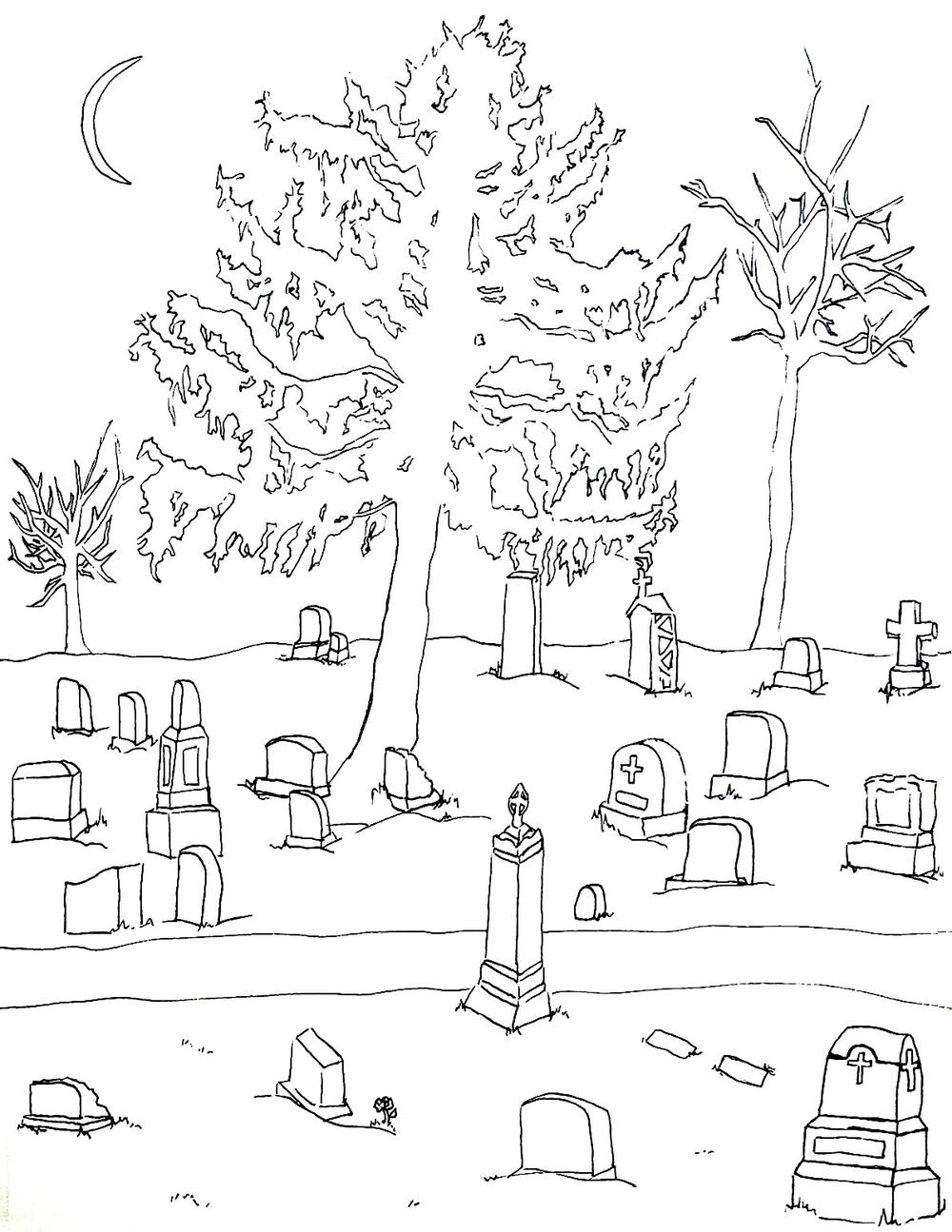 Cemetery Halloween Coloring Page | FaveCrafts.com