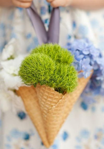 Ice Cream Cone DIY Flower Girl Basket