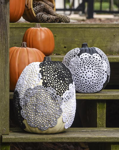 Dollar Store Doily Pumpkin Craft
