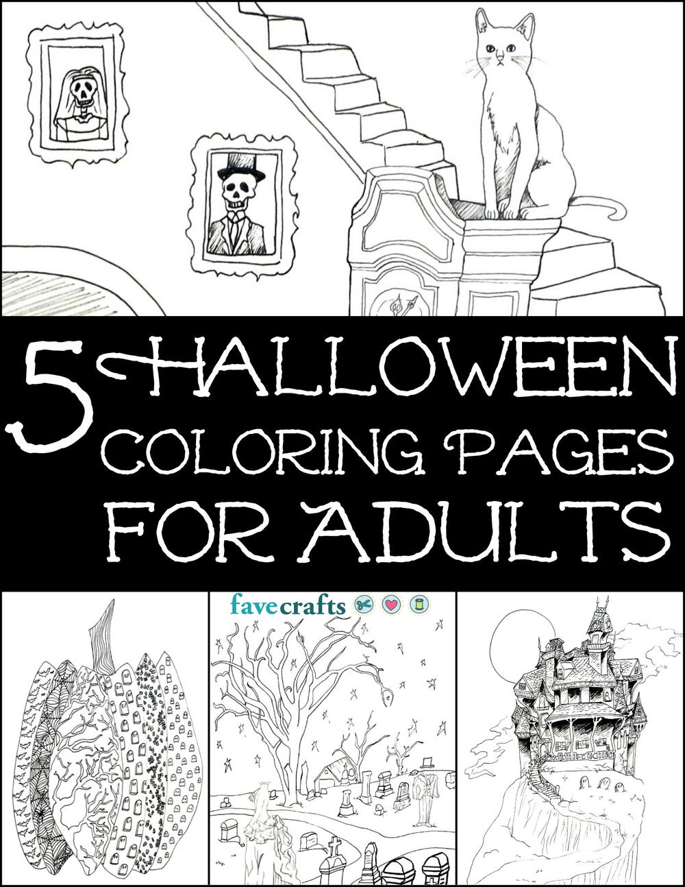 5 Free Halloween Coloring Pages for Adults [PDF] | FaveCrafts.com