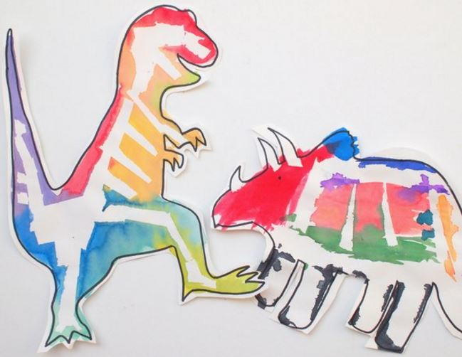 Painted Paper Dinosaur Crafts For Kids Allfreepapercrafts