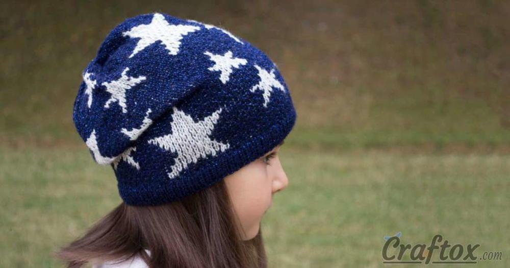 Slouchy Star Knit Beanie Pattern   AllFreeKnitting.com