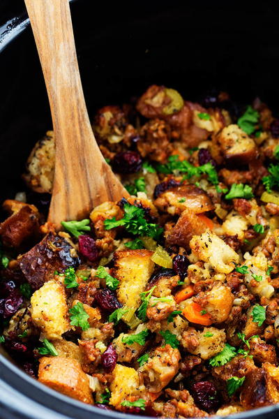 Slow Cooker Sausage Herb Stuffing
