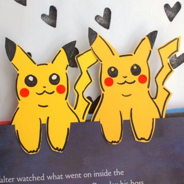 Paint Chip Pikachu DIY Bookmarks