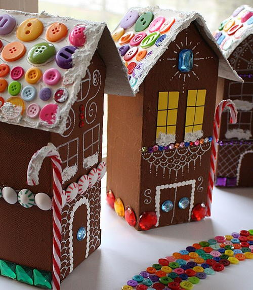 Scraptastic Milk Carton Gingerbread Houses