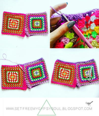 Granny Square Crochet Shorts Favecrafts