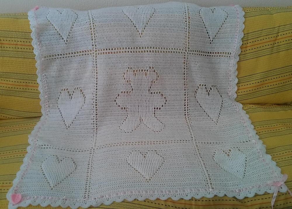 Teddy And Hearts Baby Blanket Allfreecrochetafghanpatterns