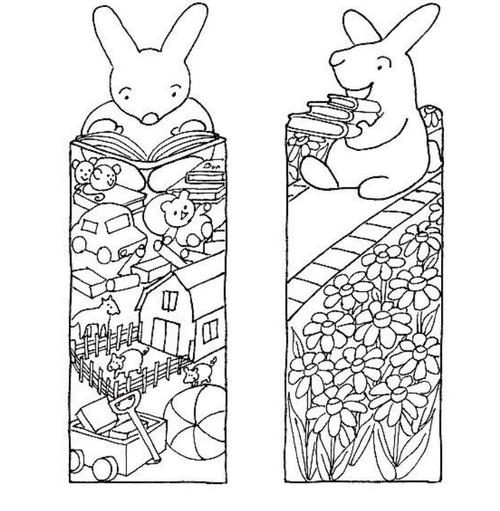 Little Bunny Printable Bookmarks to Color | AllFreePaperCrafts.com